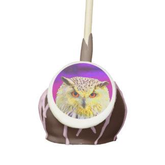 Purple Eagle Owl Horned Painting Cake Pops