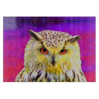 Purple Eagle Owl Horned Painting Cutting Board