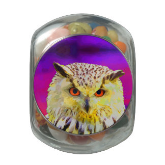 Purple Eagle Owl Horned Painting Glass Candy Jar