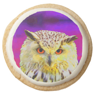 Purple Eagle Owl Horned Painting Round Shortbread Cookie