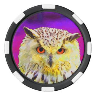 Purple Eagle Owl Horned Painting Set Of Poker Chips