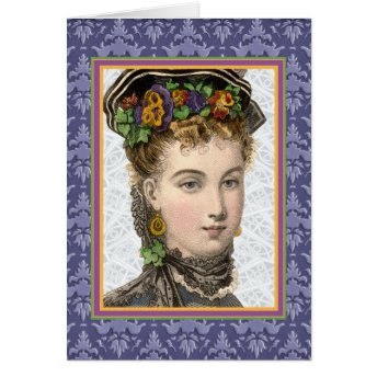 Purple Easter Bonnet Lady Vintage Spring Fashion Card