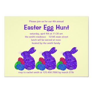 Purple Easter Bunny Easter Egg Hunt Party Personalized Invitation Cards