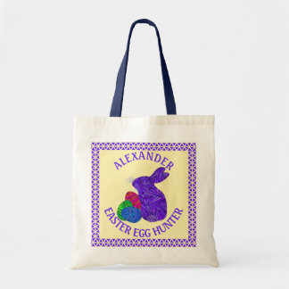 Purple Easter Bunny Easter Eggs Colorful Rabbit Budget Tote Bag