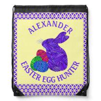 Purple Easter Bunny Easter Eggs Colorful Rabbit Drawstring Bag