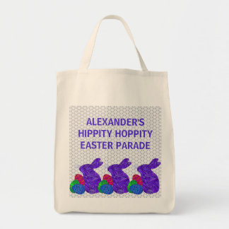 Purple Easter Bunny Easter Eggs Colorful Rabbit Grocery Tote Bag