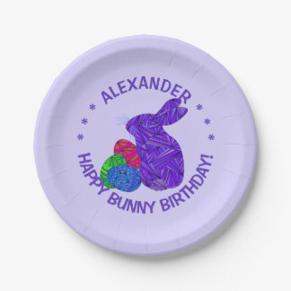Purple Easter Bunny Easter Themed Birthday Party Paper Plate