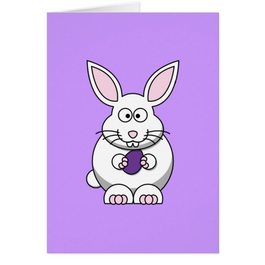 Purple Easter Egg Bunny Greeting Card 2