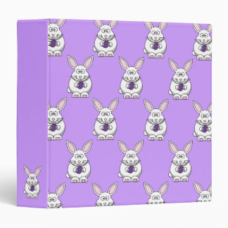 Purple Easter Egg Bunny Pattern Binder