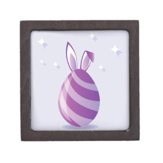 Purple Easter Egg with bunny Ears vector Jewelry Box