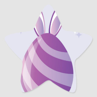 Purple Easter Egg with bunny Ears vector Star Sticker