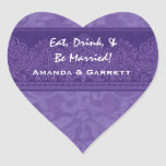 Purple Eat Drink and Be Married Damask Wedding WE7 Sticker