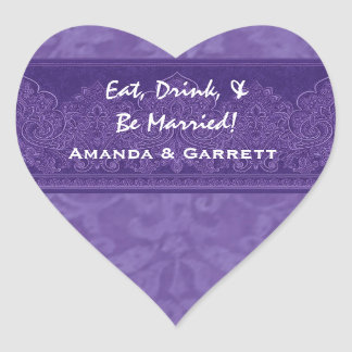 Purple Eat Drink and Be Married Damask Wedding WE7 Heart Sticker