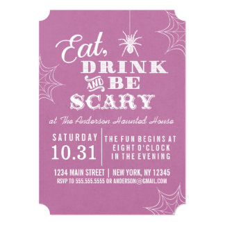 Purple Eat Drink and Be Scary Halloween Party Card