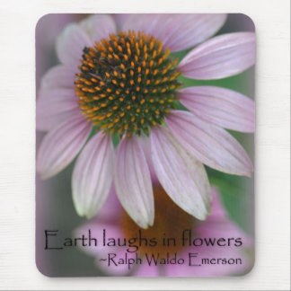 Purple echinacea Emerson Flower Quote Mouse Pad