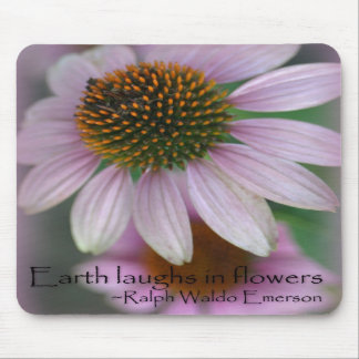 Purple echinacea Emerson Flower Quote Mousepads