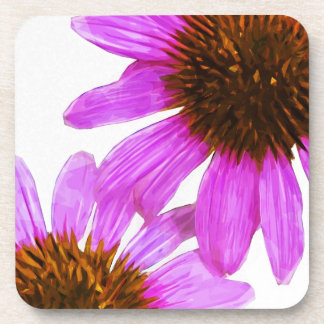 Purple Echinacea Flower Abstract Coasters