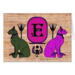 Purple Egyptian Cat Monogram Greeting Card: E