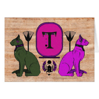 Purple Egyptian Cat Monogram Greeting Card: T Greeting Card