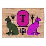 Purple Egyptian Cat Monogram Greeting Card: T Card