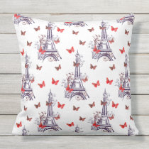 Purple Eiffel Tower Butterflies outdoor pillow
