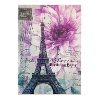 purple eiffel tower floral vintage birthday party 3.5x5 paper invitation card