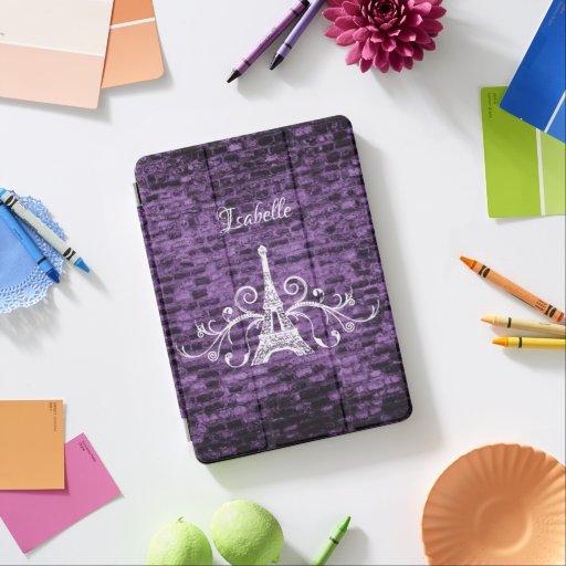 Purple Eiffel Tower Grunge iPad Cover