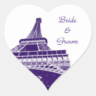 Purple Eiffel Tower Heart Shaped Sticker