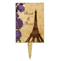 purple eiffel tower Paris wedding cake picks