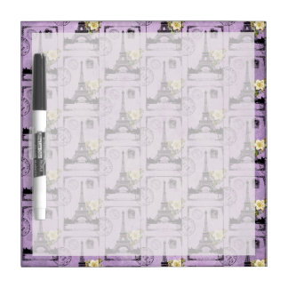 Purple Eiffel Tower Post Card Stamps Dry Erase Board