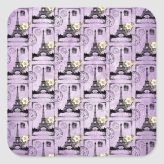 Purple Eiffel Tower Post Card Stamps Square Sticker