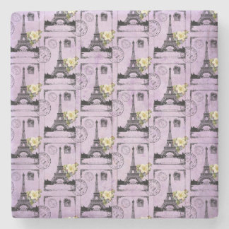 Purple Eiffel Tower Post Card Stamps Stone Coaster