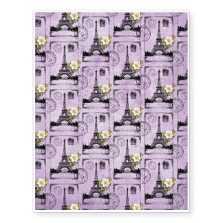 Purple Eiffel Tower Post Card Stamps Temporary Tattoos