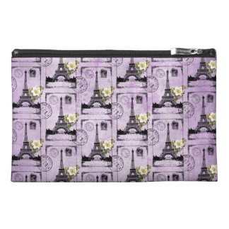 Purple Eiffel Tower Post Card Stamps Travel Accessory Bags