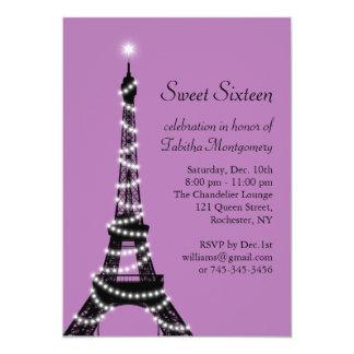 Purple Eiffel Tower Sweet 16 Invitation