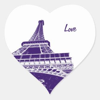 Purple Eiffel TowerSticker Heart Sticker