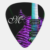 Purple Electric Guitar Monogram Guitar Pick