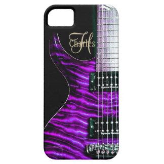 Purple Electric Guitar Monogram iPhone Case