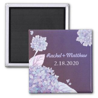 Purple Elegance Hydrangea Wedding Save the Date Magnet
