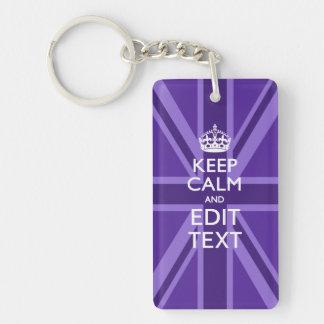 Purple Elegance Keep Calm Your Text Union Jack Keychain
