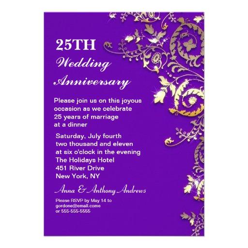 purple elegant 25th anniversary invitations