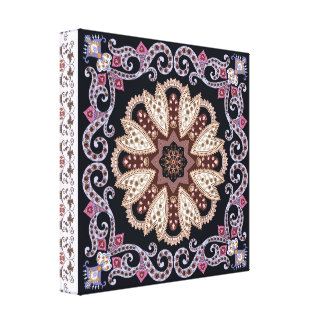 Purple elegant circular Ornament Design Canvas Print