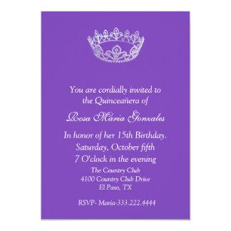 Purple Elegant Crown Quinceañera Invitation