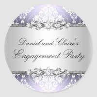 Purple Elegant Damask Engagement Party Sticker