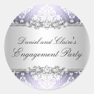 Purple Elegant Damask Engagement Party Sticker