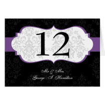 purple  Elegant damask  table seating card
