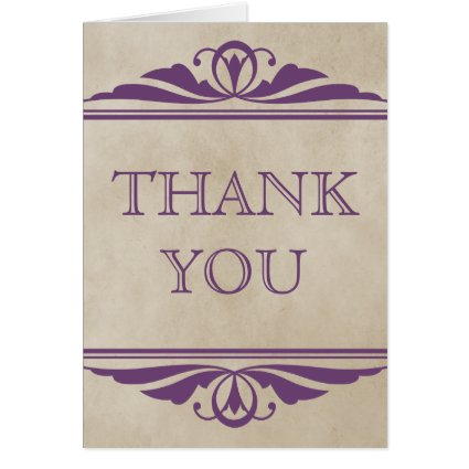 Purple Elegant Deco Thank You Card