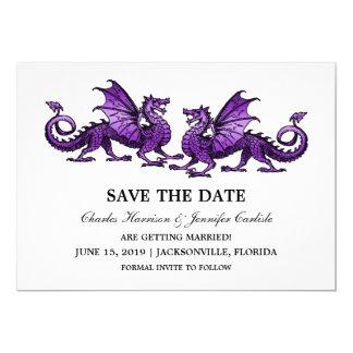 Purple Elegant Dragons Save the Date Invite