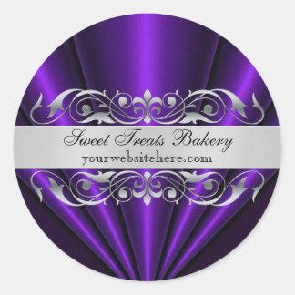 Purple Elegant Fan Cupcake Baking Label Sticker