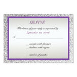 Purple - Elegant Glitter Wedding RSVP Card